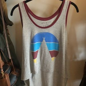 High low graphic tank top
